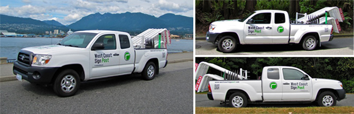Our specialized real estate sign post installation truck.